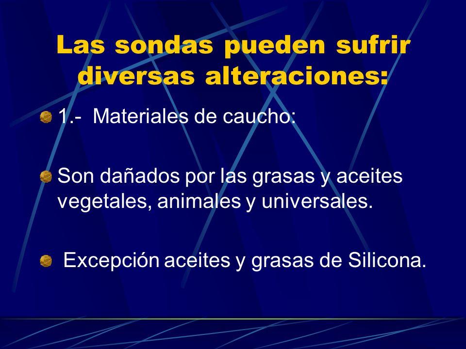 Las sondas pueden sufrir diversas alteraciones: 1.- Materiales de caucho: Son dañados por las grasas y aceites vegetales, animales y universales. Exce