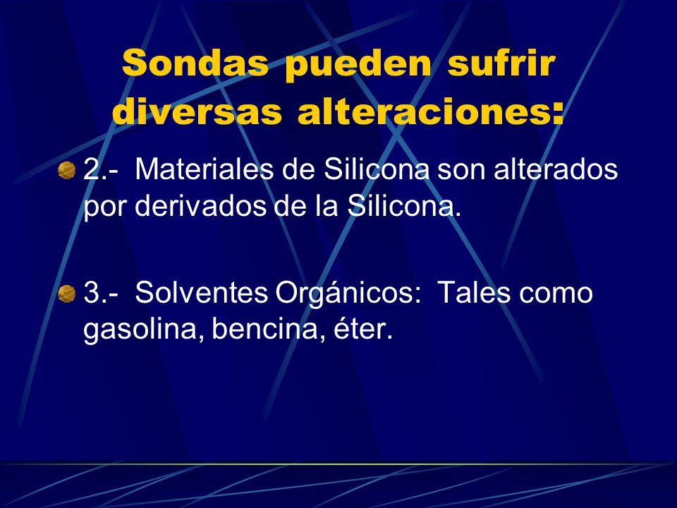 Sondas pueden sufrir diversas alteraciones : 2.- Materiales de Silicona son alterados por derivados de la Silicona. 3.- Solventes Orgánicos: Tales com