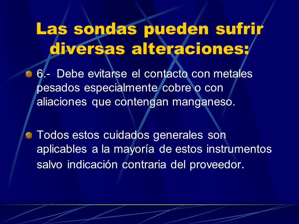 Las sondas pueden sufrir diversas alteraciones: 6.- Debe evitarse el contacto con metales pesados especialmente cobre o con aliaciones que contengan manganeso.