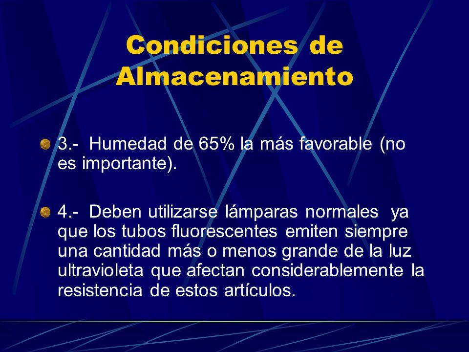 Condiciones de Almacenamiento 3.- Humedad de 65% la más favorable (no es importante). 4.- Deben utilizarse lámparas normales ya que los tubos fluoresc