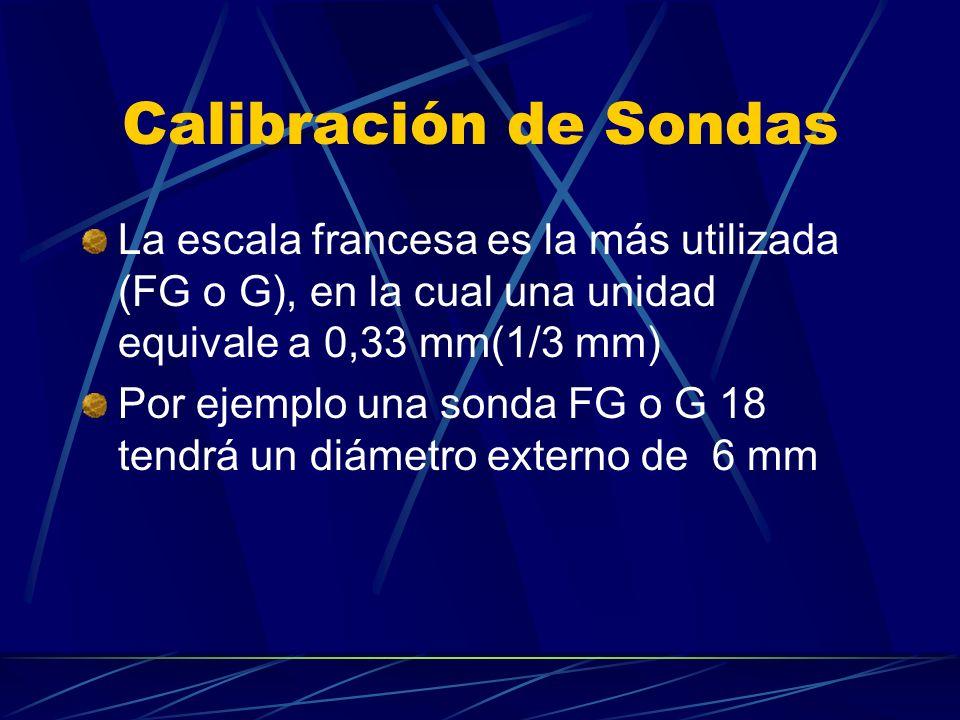 Calibración de Sondas La escala francesa es la más utilizada (FG o G), en la cual una unidad equivale a 0,33 mm(1/3 mm) Por ejemplo una sonda FG o G 1