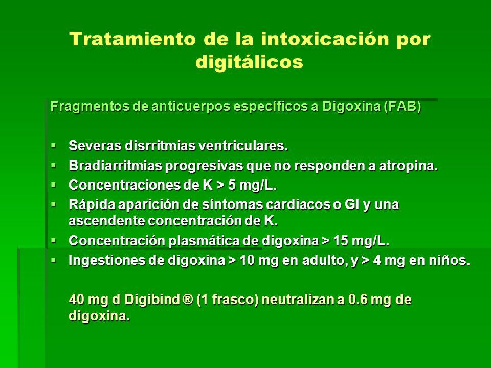 Tratamiento de la intoxicación por digitálicos Fragmentos de anticuerpos específicos a Digoxina (FAB) Severas disrritmias ventriculares. Severas disrr