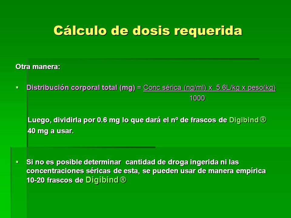 Cálculo de dosis requerida Otra manera: Distribución corporal total (mg) = Conc.sérica (ng/ml) x 5.6L/kg x peso(kg) Distribución corporal total (mg) =
