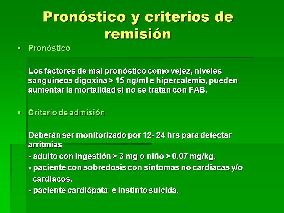 Pronóstico y criterios de remisión Pronóstico Pronóstico Los factores de mal pronóstico como vejez, niveles sanguíneos digoxina > 15 ng/ml e hipercale