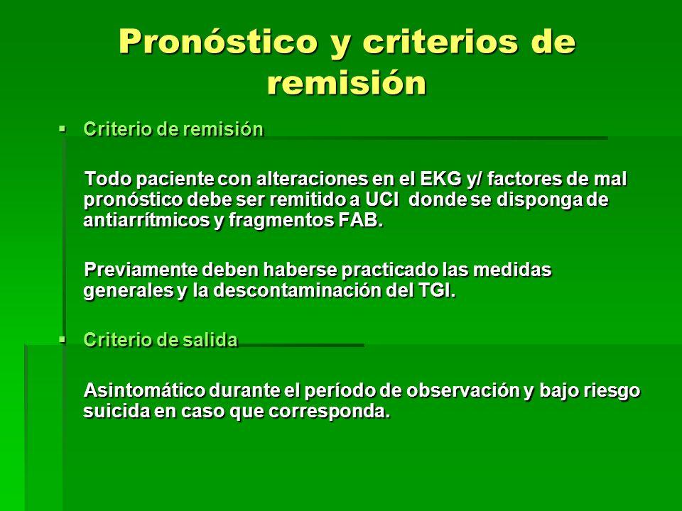 Pronóstico y criterios de remisión Criterio de remisión Criterio de remisión Todo paciente con alteraciones en el EKG y/ factores de mal pronóstico de