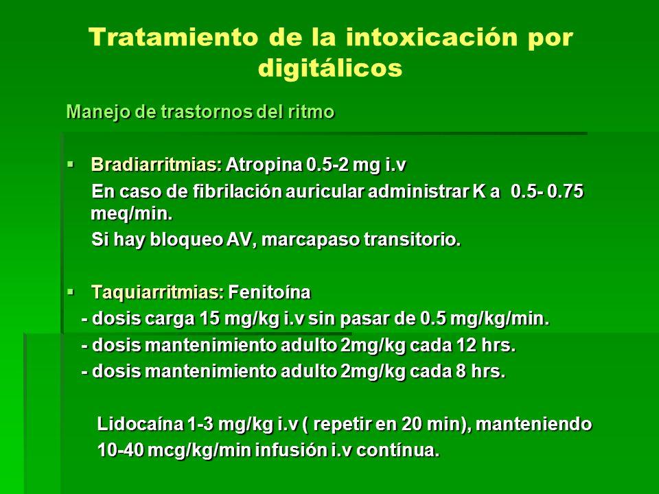 Tratamiento de la intoxicación por digitálicos Manejo de trastornos del ritmo Bradiarritmias: Atropina 0.5-2 mg i.v Bradiarritmias: Atropina 0.5-2 mg