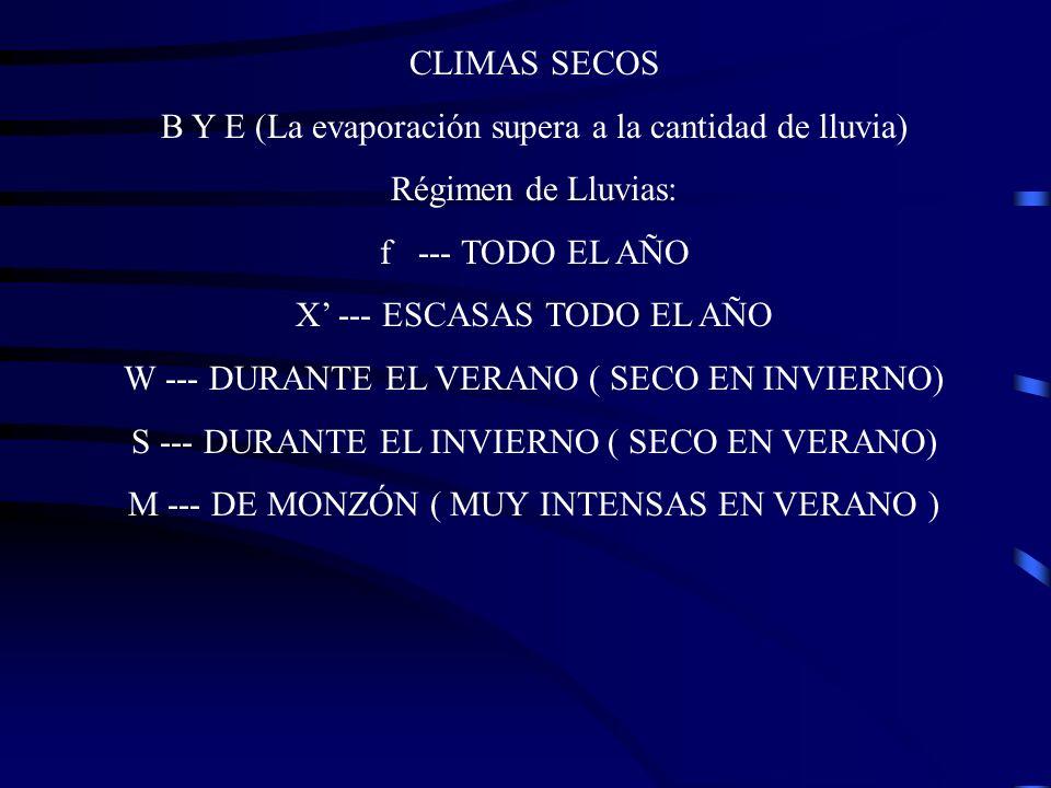 CLIMAS SECOS B Y E (La evaporación supera a la cantidad de lluvia) Régimen de Lluvias: f --- TODO EL AÑO X --- ESCASAS TODO EL AÑO W --- DURANTE EL VE