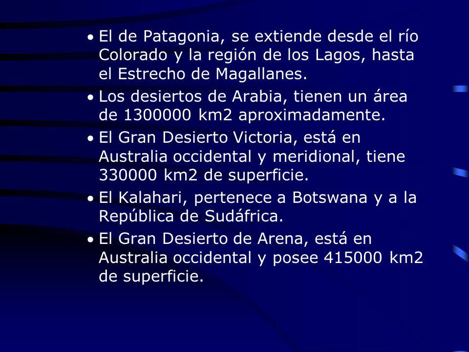 El de Patagonia, se extiende desde el río Colorado y la región de los Lagos, hasta el Estrecho de Magallanes. Los desiertos de Arabia, tienen un área
