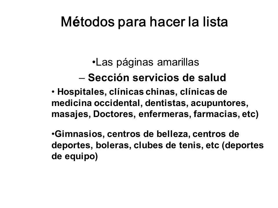 Métodos para hacer la lista Las páginas amarillas – Sección servicios de salud Hospitales, clínicas chinas, clínicas de medicina occidental, dentistas