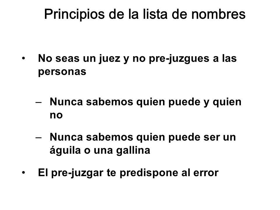 Principios de la lista de nombres No seas un juez y no pre-juzgues a las personas –Nunca sabemos quien puede y quien no –Nunca sabemos quien puede ser