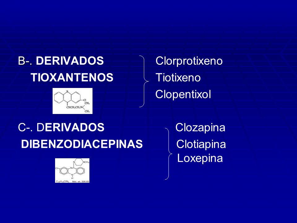 B-. B-. DERIVADOS Clorprotixeno TIOXANTENOS Tiotixeno Clopentixol C-. DERIVADOS Clozapina DIBENZODIACEPINAS Clotiapina Loxepina