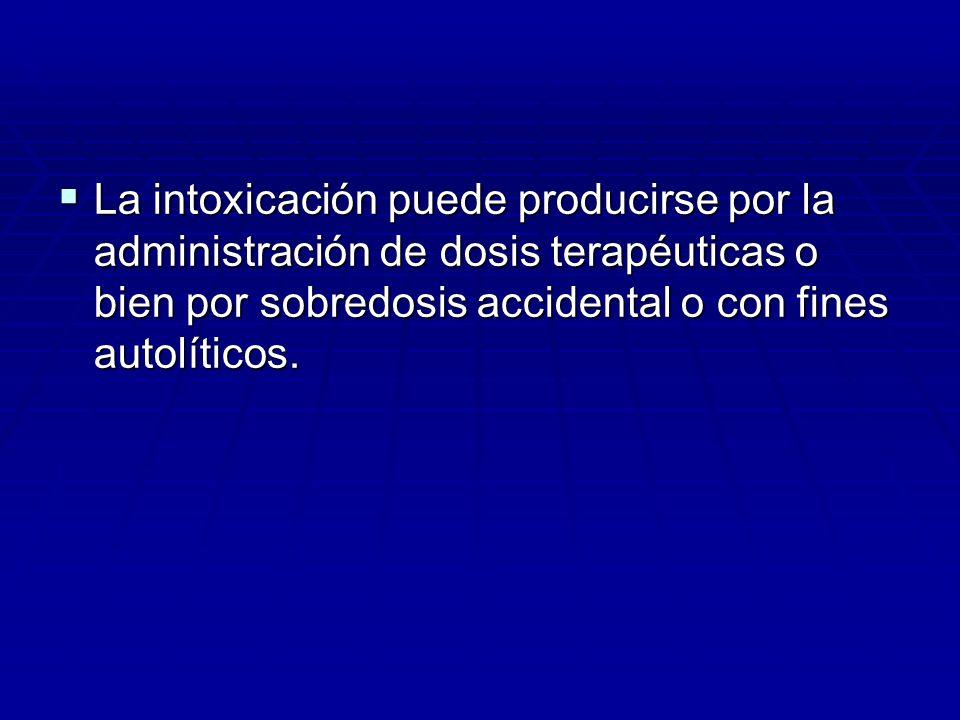 La intoxicación puede producirse por la administración de dosis terapéuticas o bien por sobredosis accidental o con fines autolíticos. La intoxicación