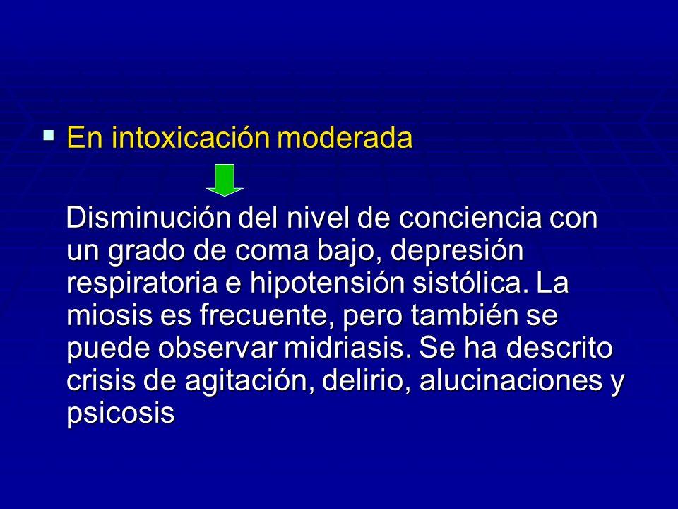 En intoxicación moderada En intoxicación moderada Disminución del nivel de conciencia con un grado de coma bajo, depresión respiratoria e hipotensión