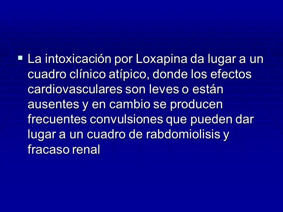 La intoxicación por Loxapina da lugar a un cuadro clínico atípico, donde los efectos cardiovasculares son leves o están ausentes y en cambio se produc