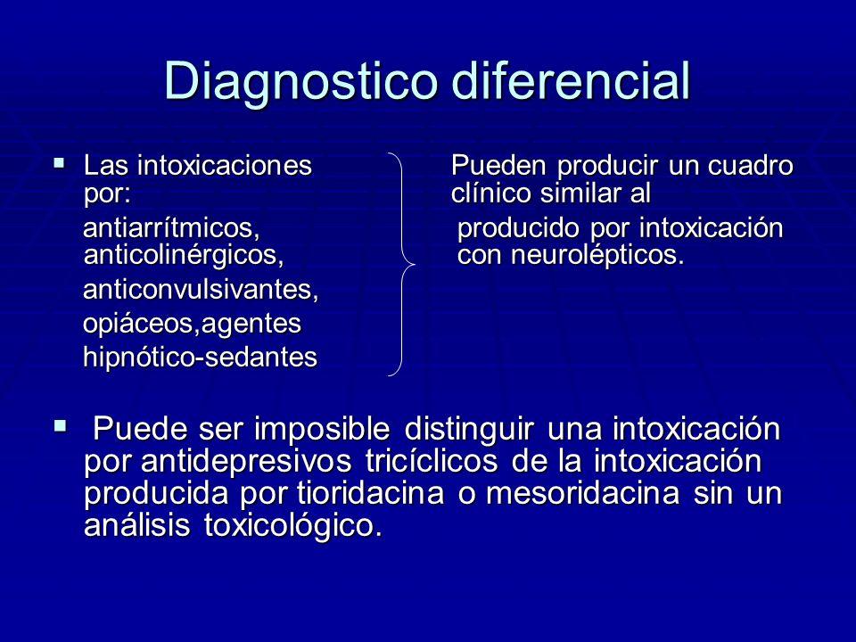 Diagnostico diferencial Las intoxicaciones Pueden producir un cuadro por: clínico similar al Las intoxicaciones Pueden producir un cuadro por: clínico