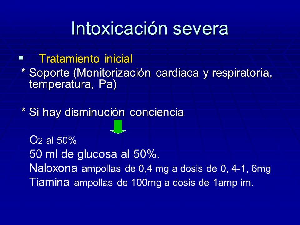 Intoxicación severa Tratamiento inicial Tratamiento inicial * Soporte (Monitorización cardiaca y respiratoria, temperatura, Pa) * Soporte (Monitorizac
