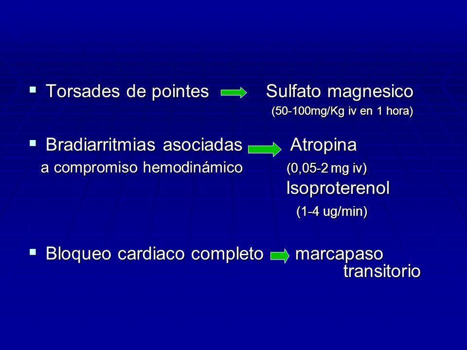 Torsades de pointes Sulfato magnesico (50-100mg/Kg iv en 1 hora) Torsades de pointes Sulfato magnesico (50-100mg/Kg iv en 1 hora) Bradiarritmias asoci