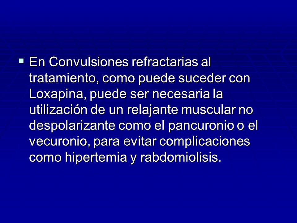 En Convulsiones refractarias al tratamiento, como puede suceder con Loxapina, puede ser necesaria la utilización de un relajante muscular no despolari