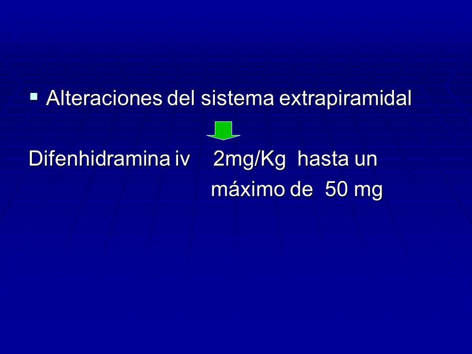 Alteraciones del sistema extrapiramidal Alteraciones del sistema extrapiramidal Difenhidramina iv 2mg/Kg hasta un máximo de 50 mg máximo de 50 mg