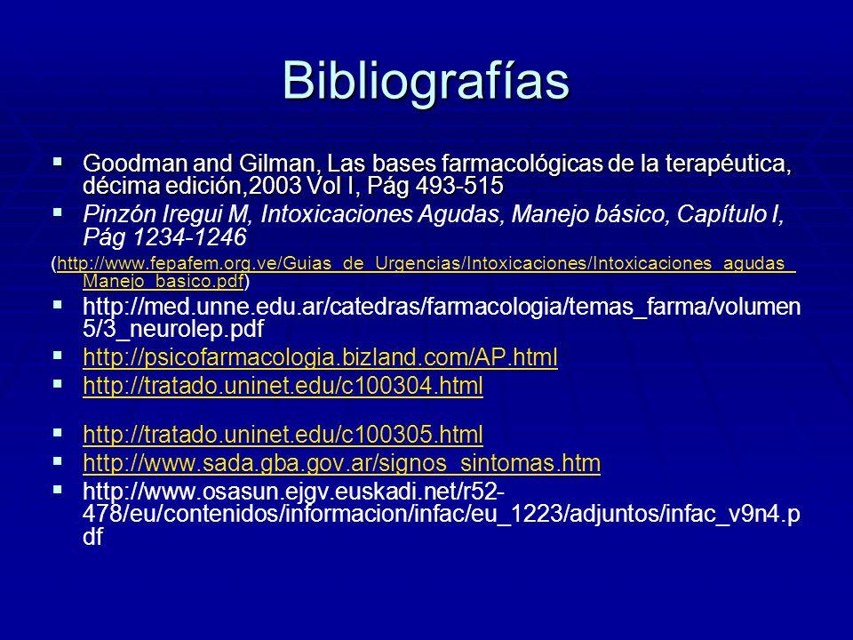 Bibliografías Goodman and Gilman, Las bases farmacológicas de la terapéutica, décima edición,2003 Vol I, Pág 493-515 Goodman and Gilman, Las bases far