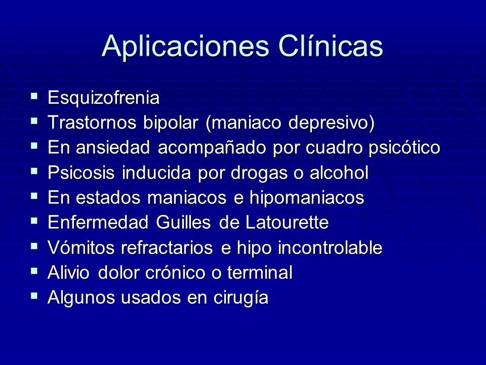Aplicaciones Clínicas Esquizofrenia Esquizofrenia Trastornos bipolar (maniaco depresivo) Trastornos bipolar (maniaco depresivo) En ansiedad acompañado