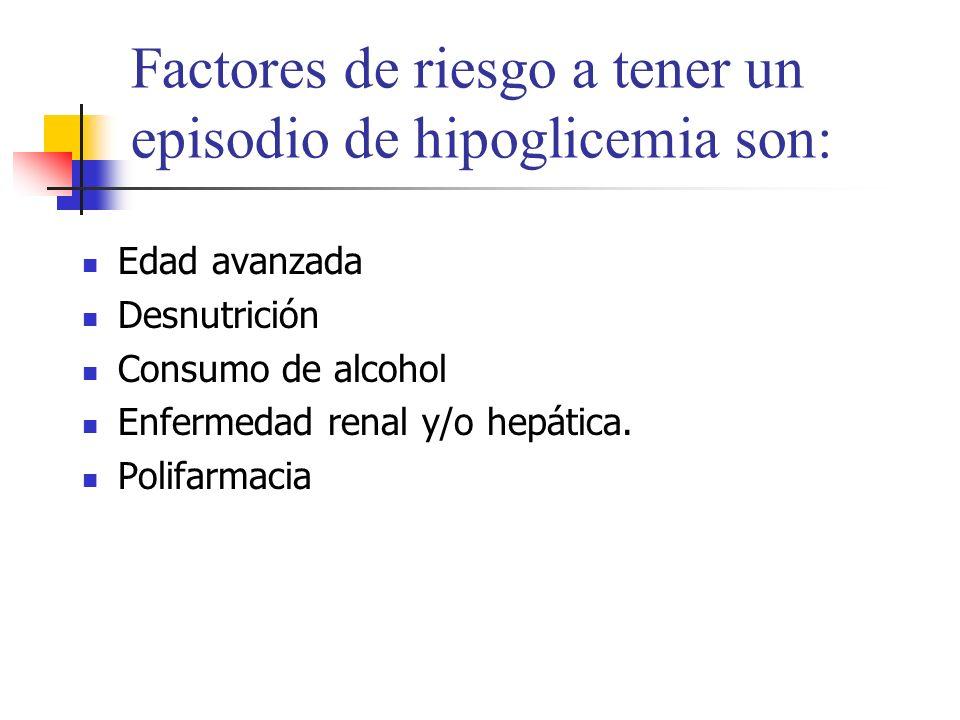Factores de riesgo a tener un episodio de hipoglicemia son: Edad avanzada Desnutrición Consumo de alcohol Enfermedad renal y/o hepática. Polifarmacia