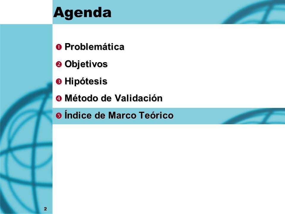 2 Agenda Problemática Problemática Objetivos Objetivos Hipótesis Hipótesis Método de Validación Método de Validación Índice de Marco Teórico Índice de