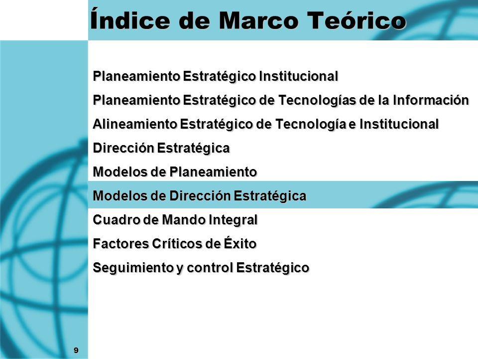 9 Índice de Marco Teórico Planeamiento Estratégico Institucional Planeamiento Estratégico de Tecnologías de la Información Alineamiento Estratégico de