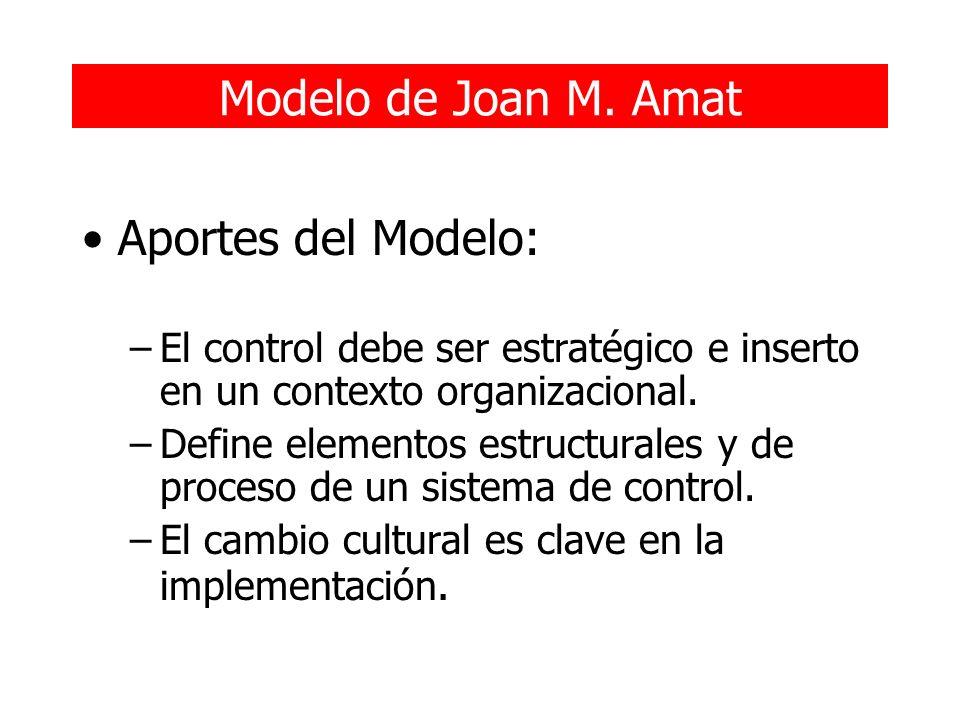 Modelo de Joan M. Amat Aportes del Modelo: –El control debe ser estratégico e inserto en un contexto organizacional. –Define elementos estructurales y