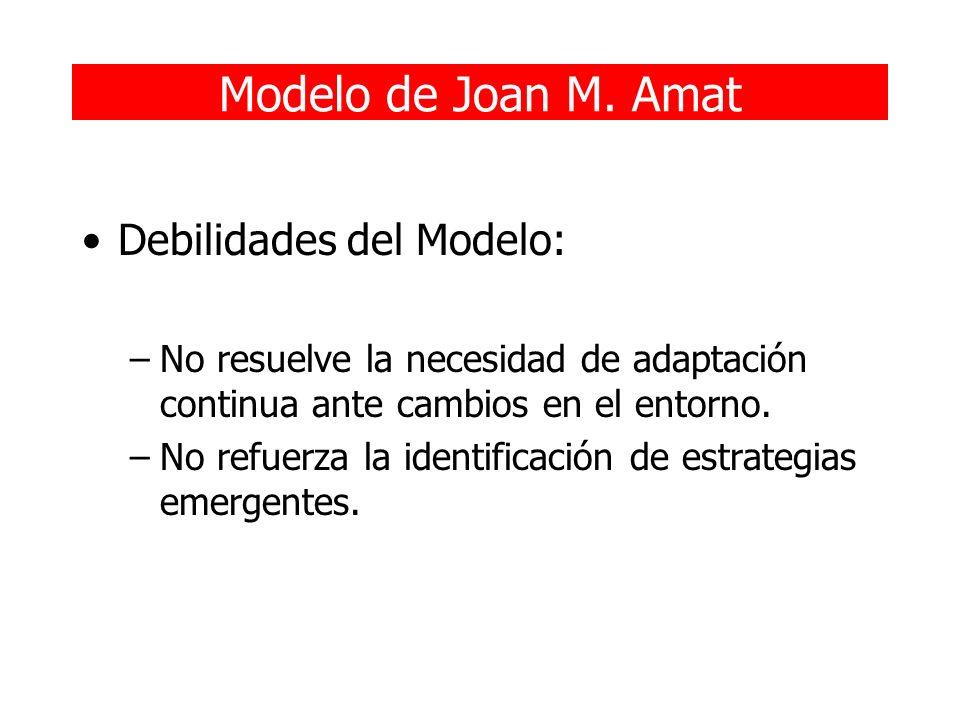 Modelo de Joan M. Amat Debilidades del Modelo: –No resuelve la necesidad de adaptación continua ante cambios en el entorno. –No refuerza la identifica