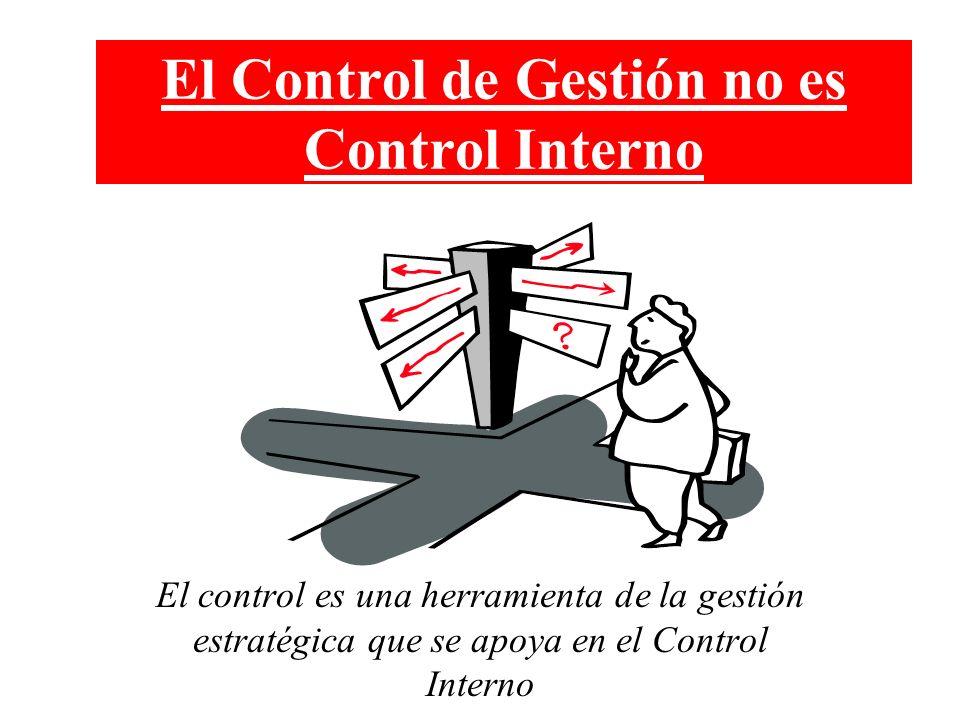 El Control de Gestión no es Control Interno El control es una herramienta de la gestión estratégica que se apoya en el Control Interno