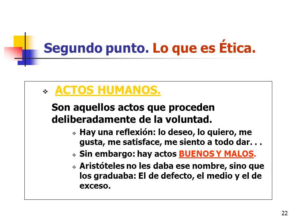 22 Segundo punto. Lo que es Ética. ACTOS HUMANOS. Son aquellos actos que proceden deliberadamente de la voluntad. Hay una reflexión: lo deseo, lo quie