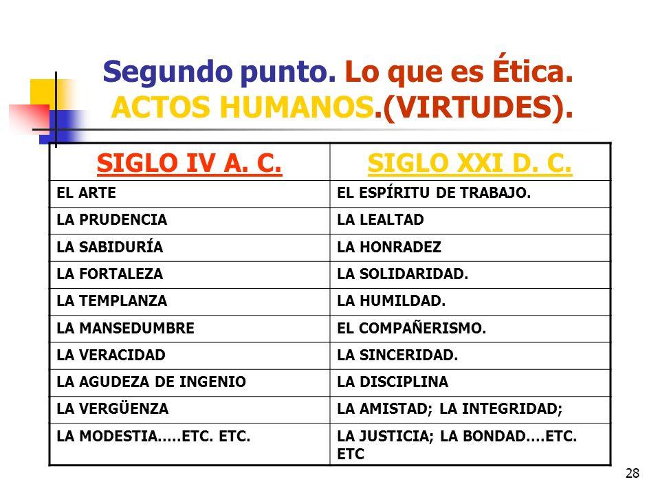 28 Segundo punto. Lo que es Ética. ACTOS HUMANOS.(VIRTUDES). SIGLO IV A. C.SIGLO XXI D. C. EL ARTEEL ESPÍRITU DE TRABAJO. LA PRUDENCIALA LEALTAD LA SA