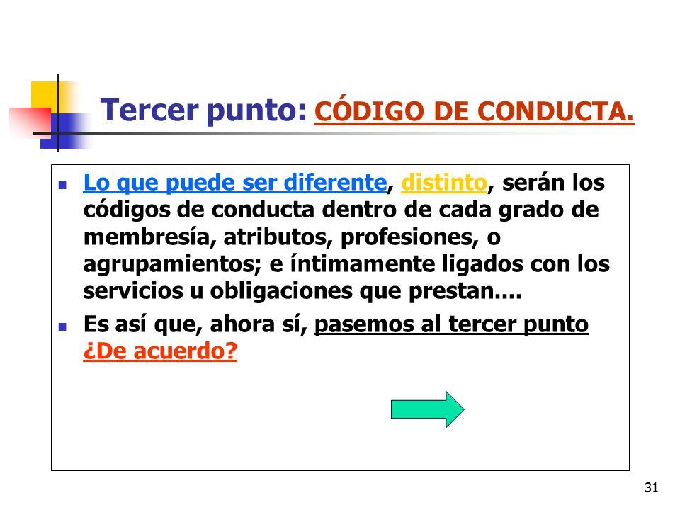 31 Tercer punto: CÓDIGO DE CONDUCTA. Lo que puede ser diferente, distinto, serán los códigos de conducta dentro de cada grado de membresía, atributos,