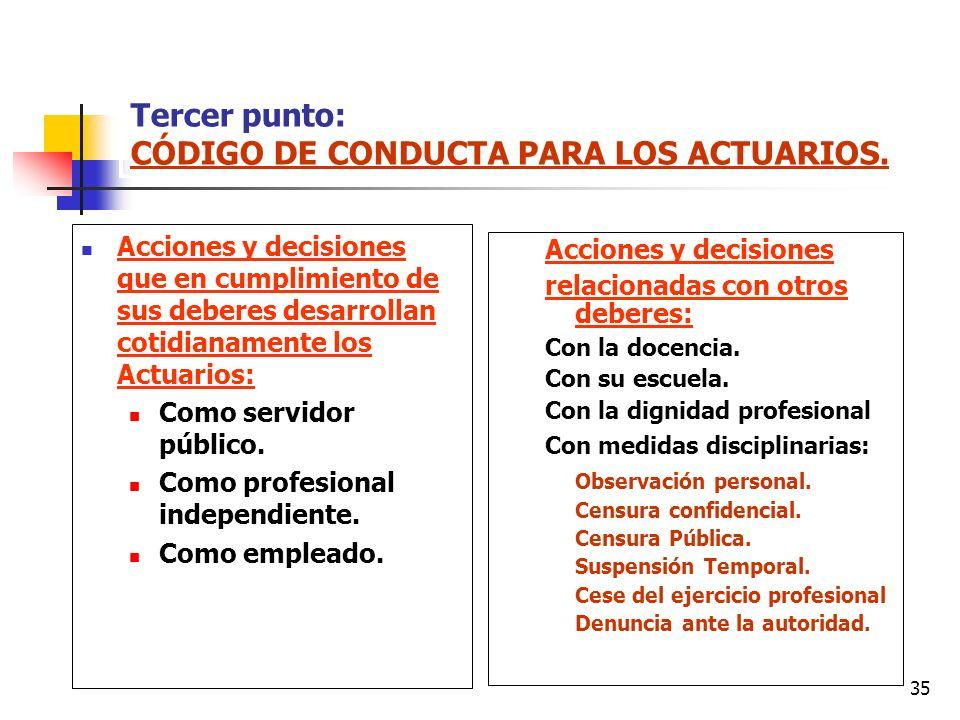 35 Tercer punto: CÓDIGO DE CONDUCTA PARA LOS ACTUARIOS. Acciones y decisiones que en cumplimiento de sus deberes desarrollan cotidianamente los Actuar