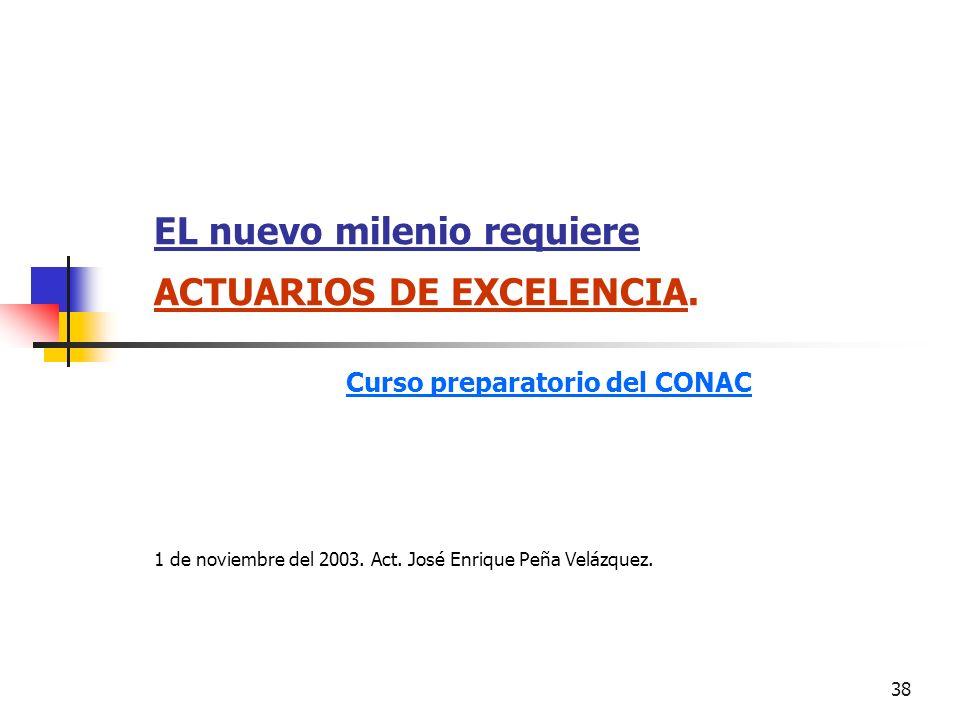 38 EL nuevo milenio requiere ACTUARIOS DE EXCELENCIA. Curso preparatorio del CONAC 1 de noviembre del 2003. Act. José Enrique Peña Velázquez.