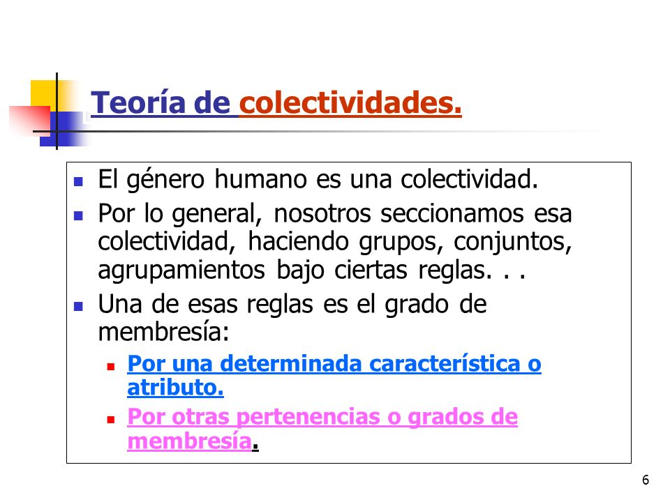 6 Teoría de colectividades. El género humano es una colectividad. Por lo general, nosotros seccionamos esa colectividad, haciendo grupos, conjuntos, a