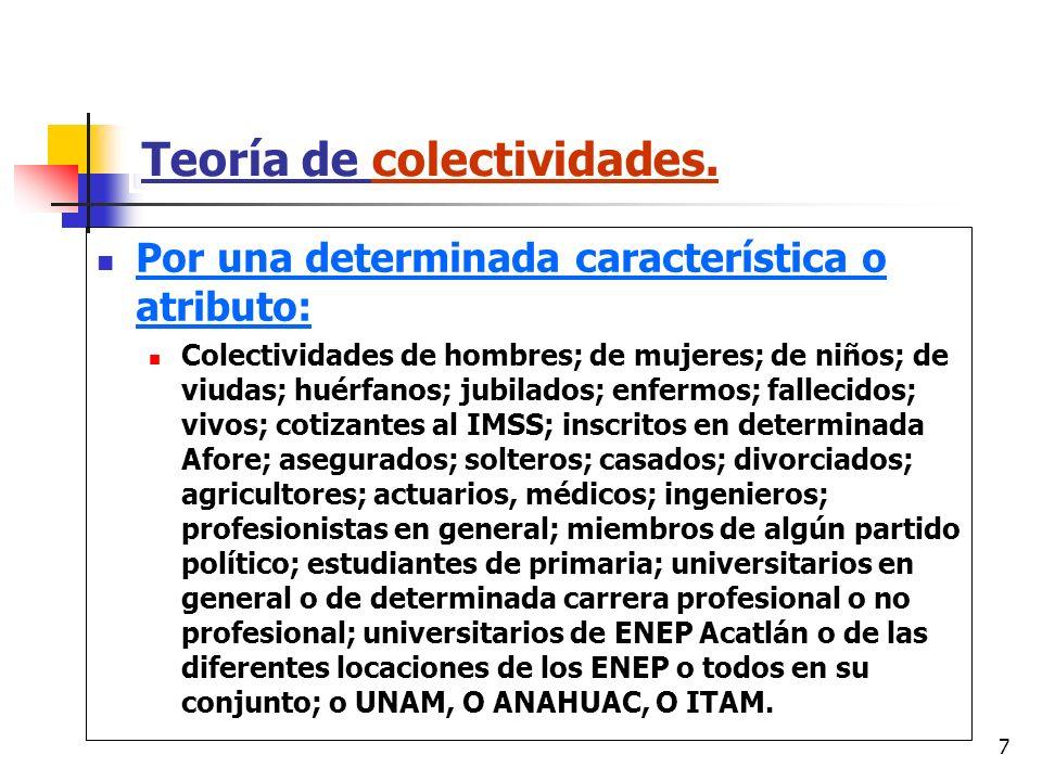 7 Teoría de colectividades. Por una determinada característica o atributo: Colectividades de hombres; de mujeres; de niños; de viudas; huérfanos; jubi