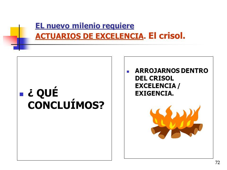 72 EL nuevo milenio requiere ACTUARIOS DE EXCELENCIA. El crisol. ¿ QUÉ CONCLUÍMOS? ARROJARNOS DENTRO DEL CRISOL EXCELENCIA / EXIGENCIA.
