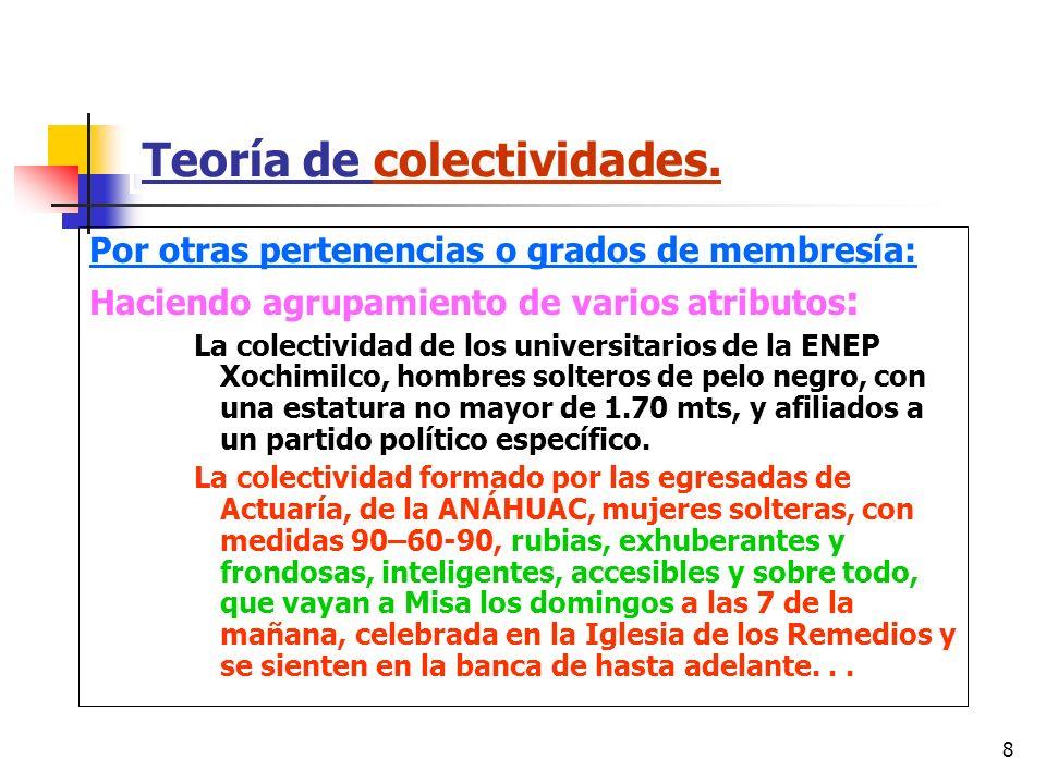 8 Teoría de colectividades. Por otras pertenencias o grados de membresía: Haciendo agrupamiento de varios atributos : La colectividad de los universit