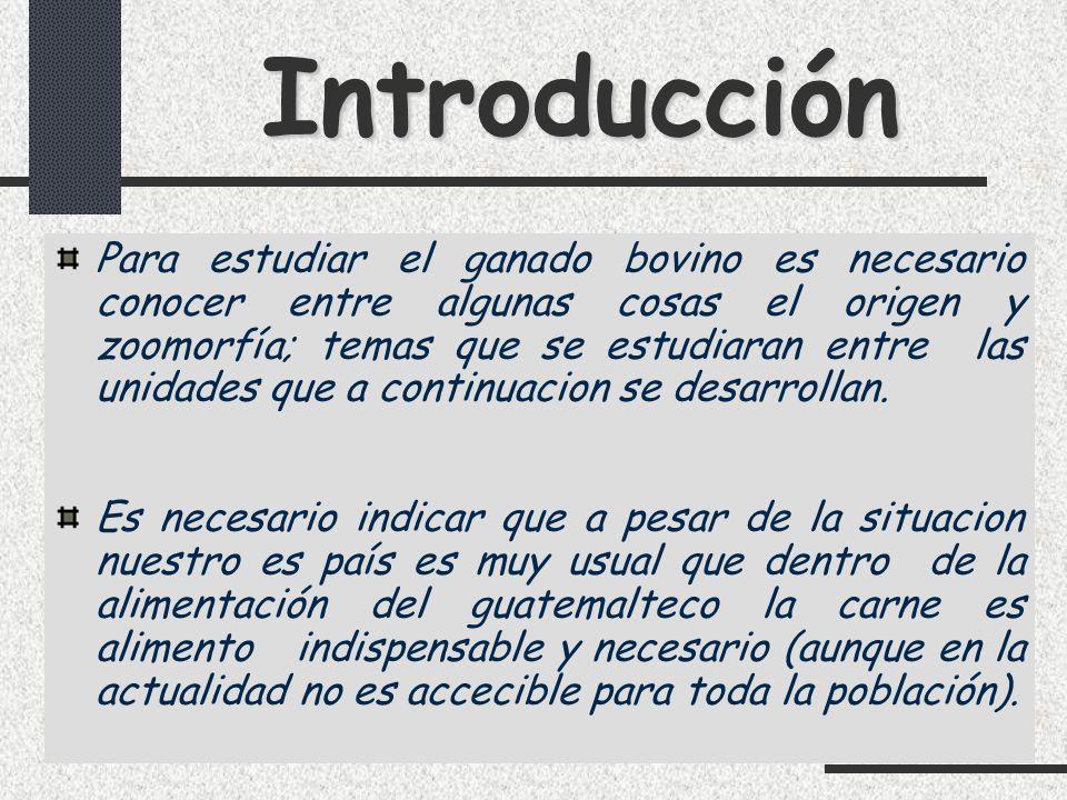 Introducción Unidades a Estudiar 1.Desarrollo de la ganadería bovina 2.Zoomorfia 3.La Leche 4.Razas de ganado bovino de Leche 5.Razas de ganado bovino doble proposito y metodos de reproducción.