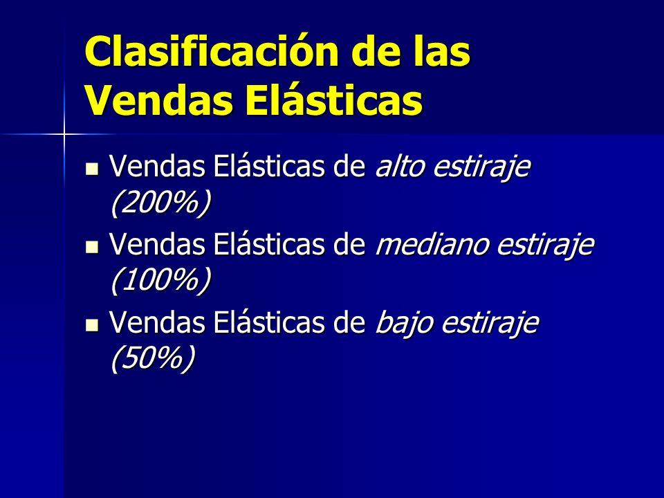 Clasificación de las Vendas Elásticas Vendas Elásticas de alto estiraje (200%) Vendas Elásticas de alto estiraje (200%) Vendas Elásticas de mediano es