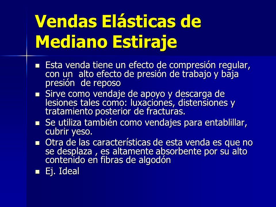 Vendas Elásticas de Mediano Estiraje Esta venda tiene un efecto de compresión regular, con un alto efecto de presión de trabajo y baja presión de repo