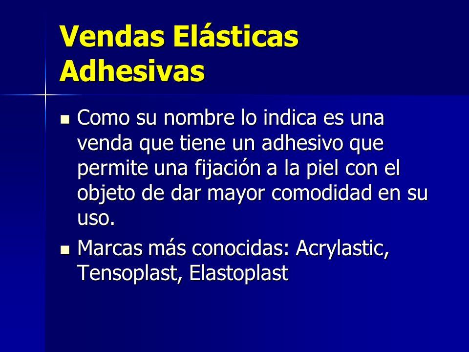 Vendas Elásticas Adhesivas Como su nombre lo indica es una venda que tiene un adhesivo que permite una fijación a la piel con el objeto de dar mayor c