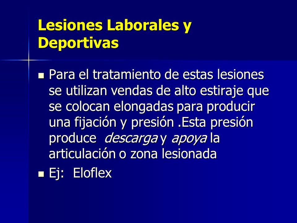 Lesiones Laborales y Deportivas Para el tratamiento de estas lesiones se utilizan vendas de alto estiraje que se colocan elongadas para producir una f
