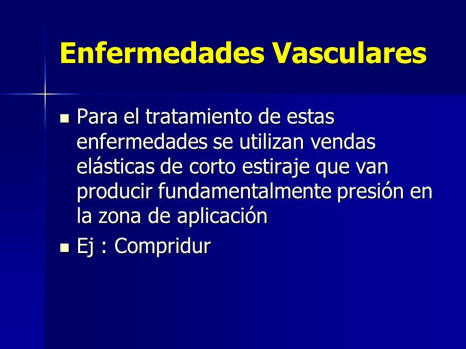 Enfermedades Vasculares Para el tratamiento de estas enfermedades se utilizan vendas elásticas de corto estiraje que van producir fundamentalmente pre
