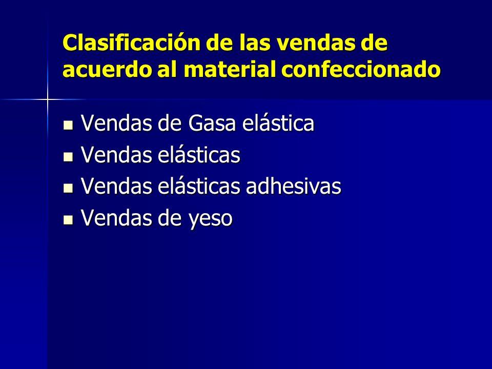 Clasificación de las vendas de acuerdo al material confeccionado Vendas de Gasa elástica Vendas de Gasa elástica Vendas elásticas Vendas elásticas Ven