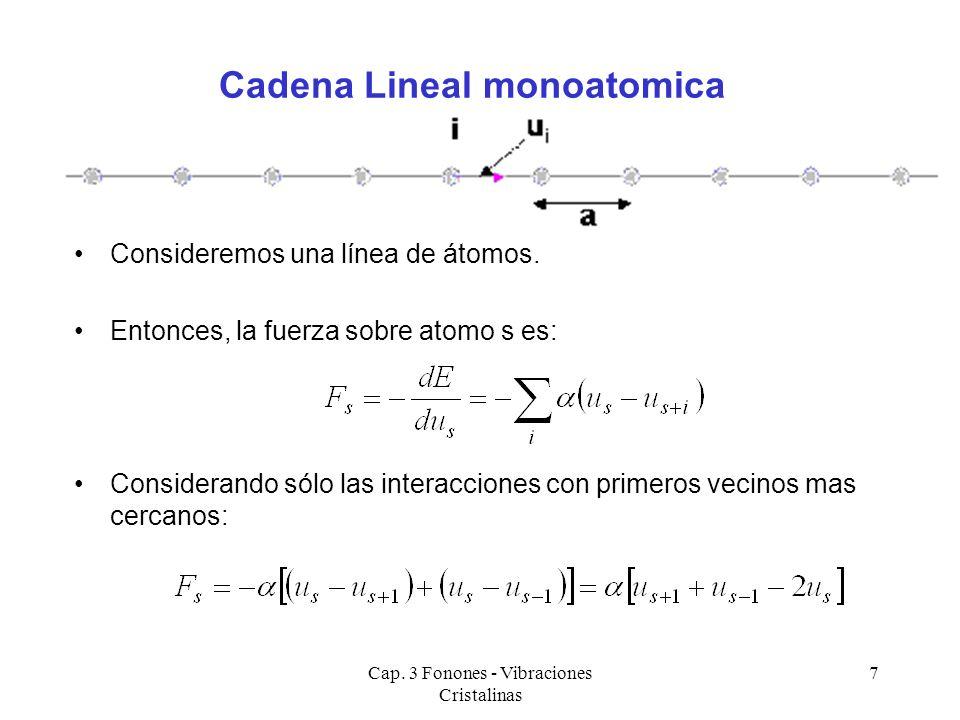 Cap. 3 Fonones - Vibraciones Cristalinas 7 Consideremos una línea de átomos. Entonces, la fuerza sobre atomo s es: Considerando sólo las interacciones