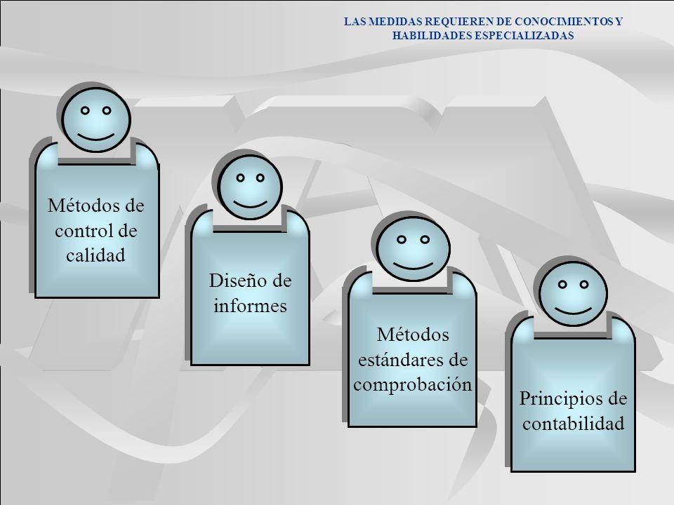 LAS MEDIDAS REQUIEREN DE CONOCIMIENTOS Y HABILIDADES ESPECIALIZADAS Métodos estándares de comprobación Diseño de informes Principios de contabilidad M