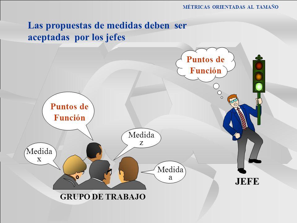 MÉTRICAS ORIENTADAS AL TAMAÑO Las propuestas de medidas deben ser aceptadas por los jefes Puntos de Función Medida a Medida x Medida z GRUPO DE TRABAJ